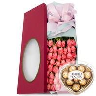 50송이꽃상자 2호(핑크)(초콜렛포함)